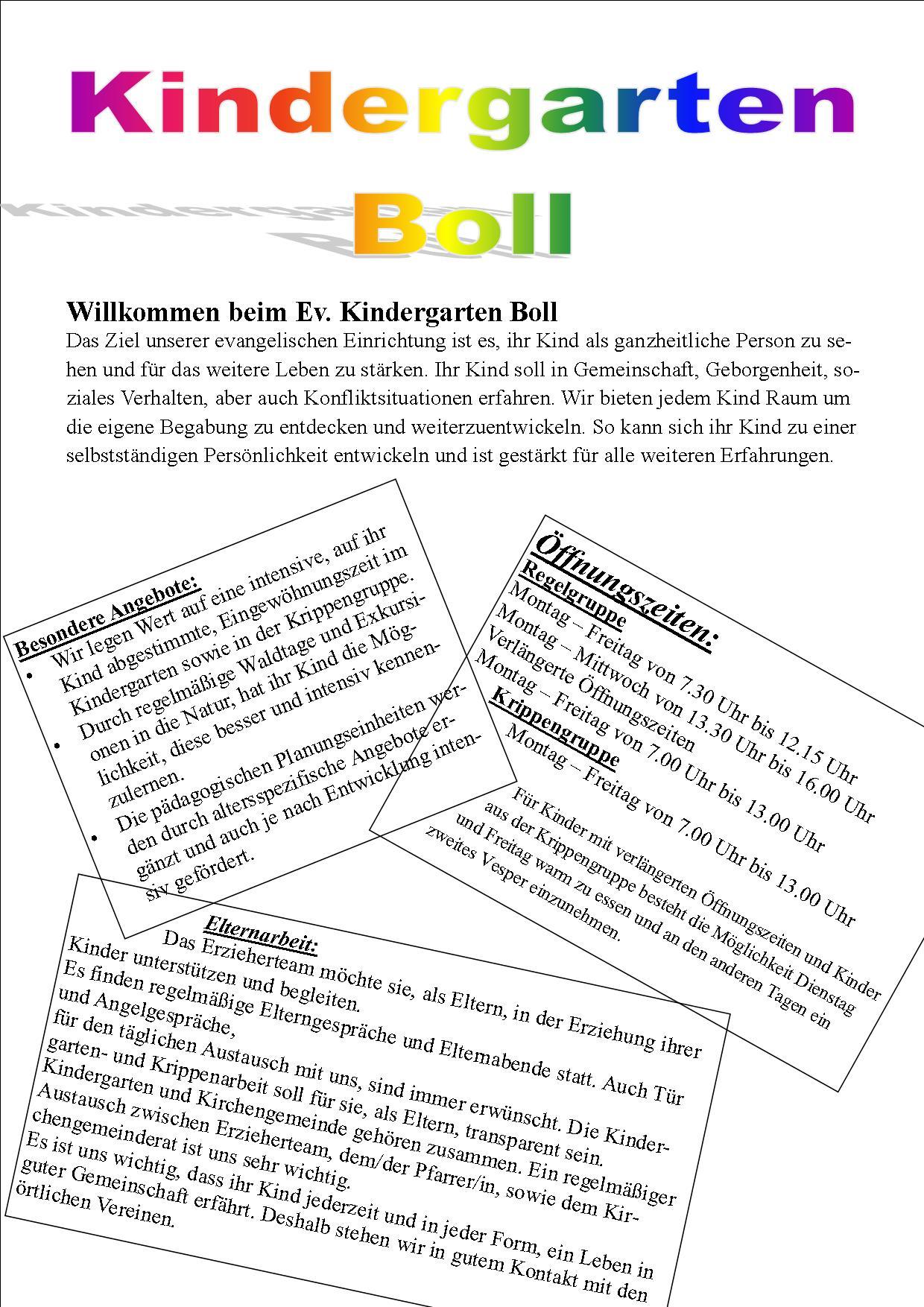 Evangelischer Kindergarten Boll Evangelische Kirchengemeinde Boll